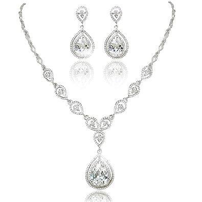 9f3669b0529 KARMO Teardrop Pendant Bridal Necklace Dangle Earring Jewelry Set Clear CZ Crystal  Wedding¡
