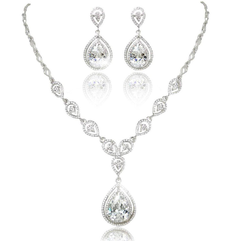 KARMO Teardrop Pendant Bridal Necklace Dangle Earring Jewelry Set Clear CZ Crystal Wedding¡