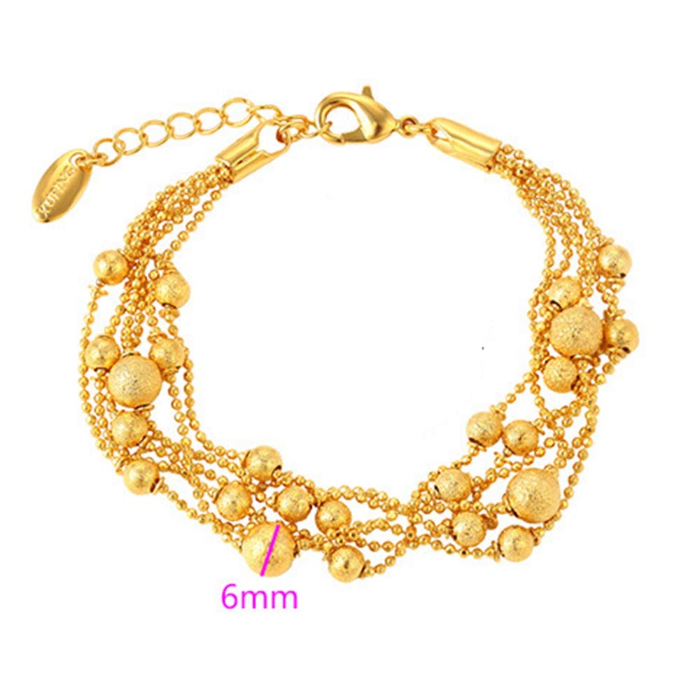 Shuxing 6-Line Beads Chain 18k Yellow Gold Plated Womens Bracelet Wrist Chain Gift