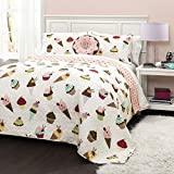 4pc Girls Sweet Ice Cream Cupcake Themed Quilt Full/Queen Set, Gorgeous Fun Graphic, Pink Green Blue yellow, Donuts Cupcake Ice Cream Pattern Bedding, Solid Color
