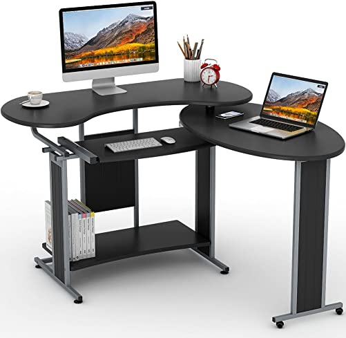 L-Shaped Computer Desk, LITTLE TREE Rotating Corner Desk Modern Office Study Workstation, for Home Office or Living Room Black