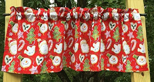 Christmas Santa Claus Tree Dove Heart Star Snowman Cane Sugar Cookie Red Handcrafted Curtain Valance