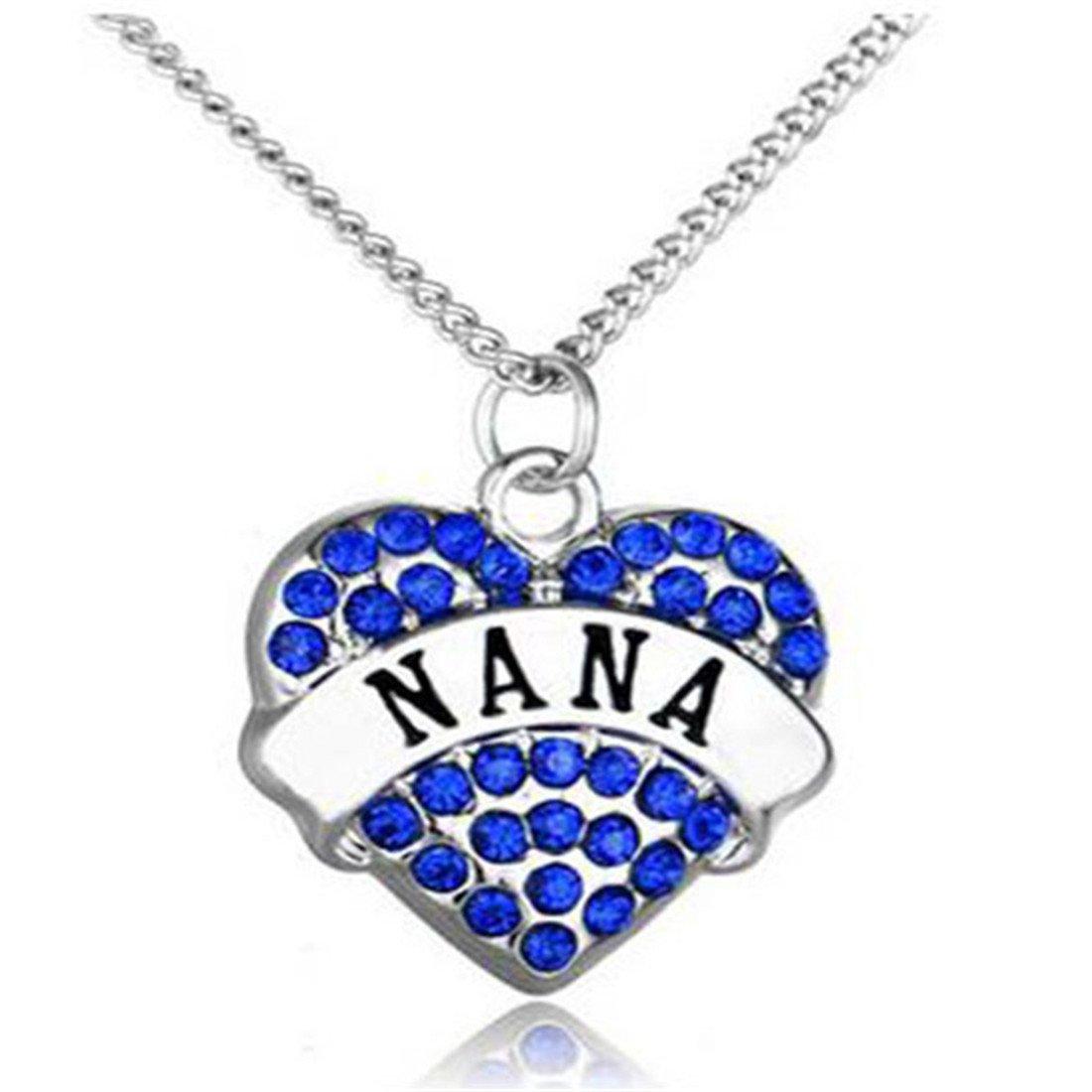 RainBabe Necklace Love Heart Shape Letter Print Rhinestone Pendent Necklace 1Pc (Blue Nana)