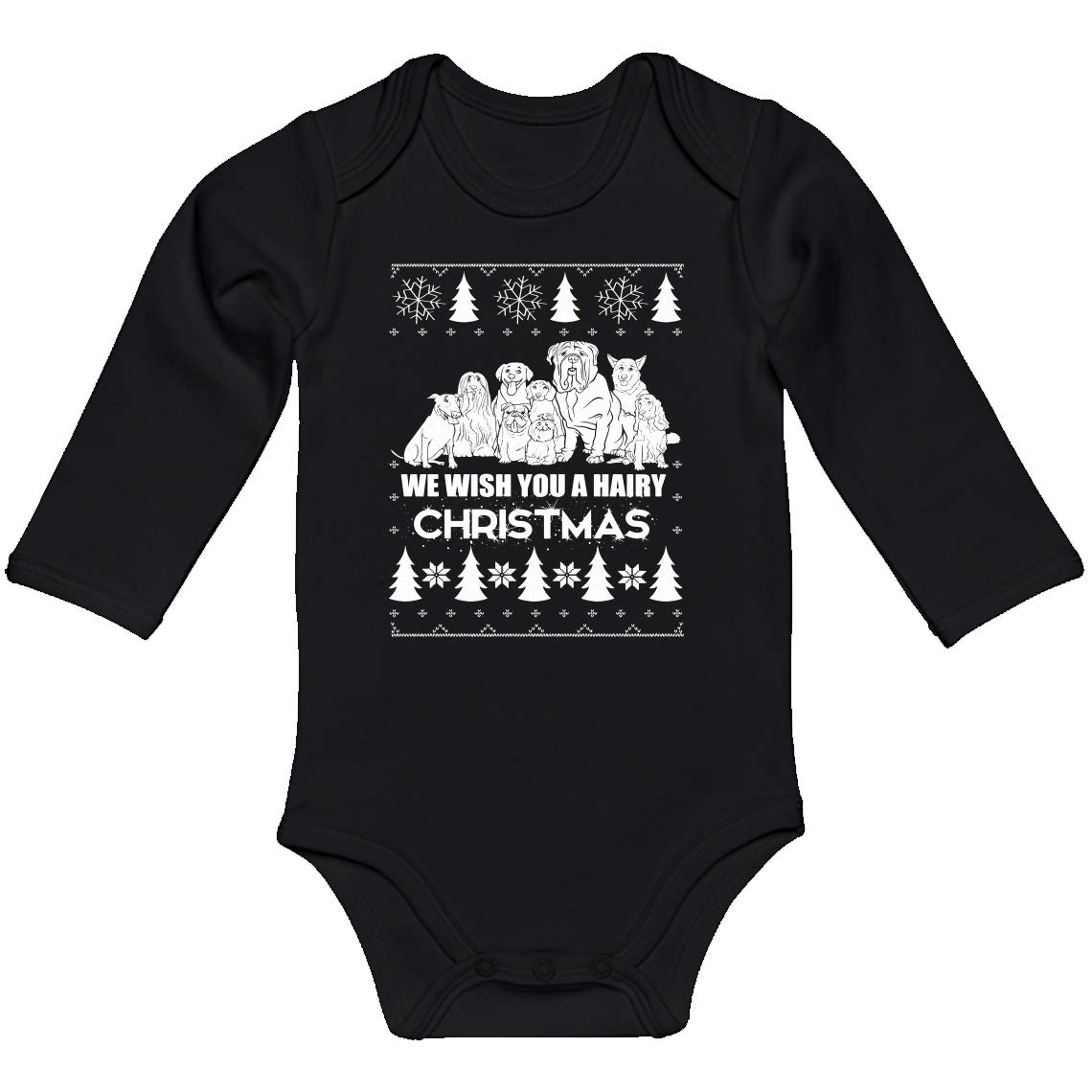 Baby Romper We Wish You a Hairy Christmas 100/% Cotton Long Sleeve Infant Bodysuit