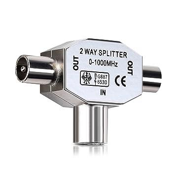kwmobile Distribuidor de Antena bidireccional - T Splitter de 0 a 1000 MHz para DVB-