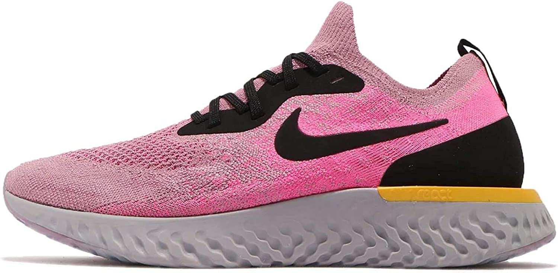 Nike Epic React Flyknit, Chaussures de Running Compétition Homme Multicolore Plum Dust Black Pink Blast Amarillo 500