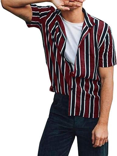Camisa para Hombre - Camisa de Rayas Manga Corta La Solapa Slim Fit Shirt Verano Primavera Casual Oficina Camisa Verde/Rojo Vino M-3XL: Amazon.es: Ropa y accesorios