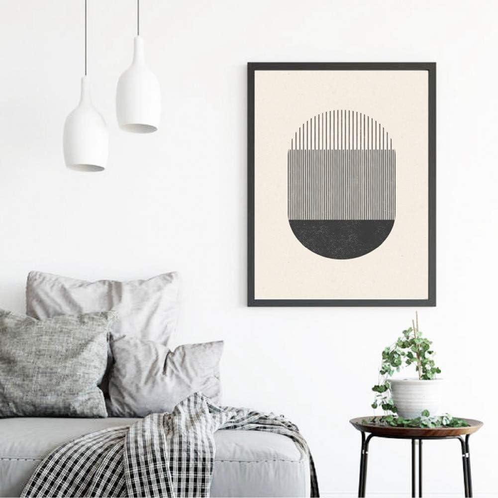 QJSTD Grabado con Formas geométricas y líneas póster Lienzo Pintura Cuadros decoración de la Pared del hogar,60 * 80Sin Marco