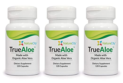 Amazon.com: TrueAloe 100% Organic Aloe Vera Supplement - 120 Capsules per bottle: Health & Personal Care