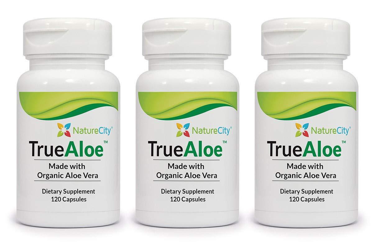 TrueAloe 100% Organic Aloe Vera Capsules - 120 Capsules per Bottle -3 Pack