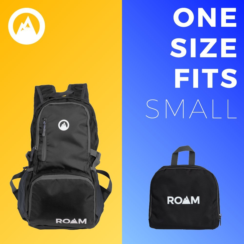 Roam Packable Backpack – Lightweight Foldable Daypack Water-Resistant, 25L, – Durable Tear-Resistant Nylon Weave – Daypack for Travel, Hiking, Backpacking, Camping, Mountaineering, Beach, Outdoors by Roam (Image #4)