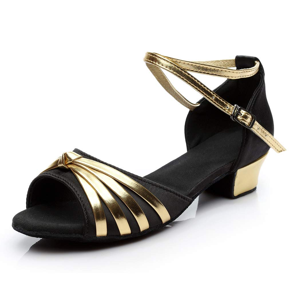 Mysky Fashion Women Classic Sexy Fish Mouth Striped Bowknot Criss Cross Buckle Prom Party Dance Shoes