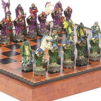 Fantasy Chessmen & Marcello Chess Board from Italy