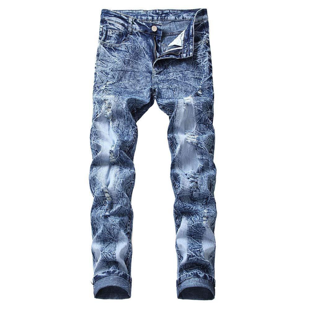 3abed4d0 Ropa Hombre Pantalones de Vaqueros Hombres SUNNSEAN Largos Cauales  Desgastados Rectos Antiguos de Otoño Pantalón Jeans Pants Vaqueros