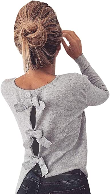 Long Sleeve Shirt Backless Sweatshirt Pullovers Tops Blouse Sweaters for Women