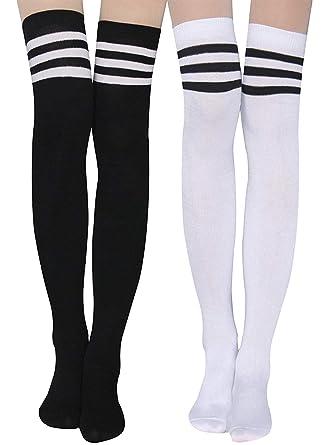 04bfa05ef6f58 Damen Kniestrümpfe - Overknee Strümpfe Streifen Lange Socken Retro Knitting  Strümpfe Mädchen Cheerleader Sportsocken Baumwollstrümpfe