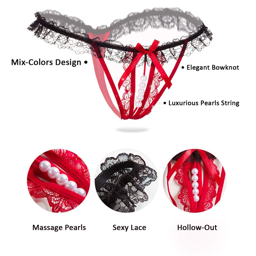 KHUFUZI Women\'s Sexy Massage Pearl Thong Lace Crotchless Panties T-Back Lingerie for Ladies Girls (RedBlack)