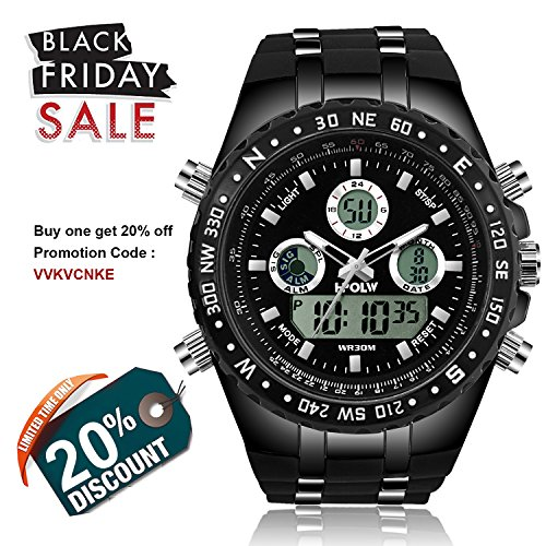 Men's Sport Military Watch HPOLW Analog Digital Alarm EL Luminous Two Time Zone Water Resistant Multifunction Large Face Army Watch (Mens El Analog Sport Watchs)