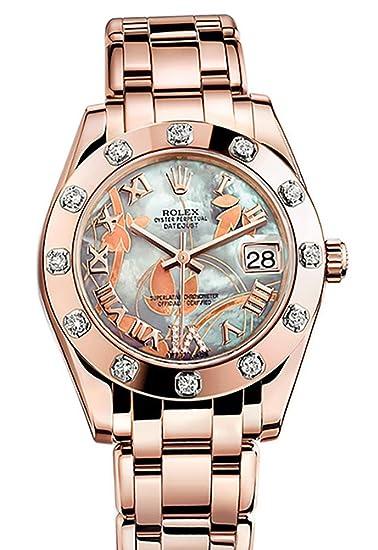 Rolex PEARLMASTER 34 Goldust sueño Set de diamantes romano de VI Dial PEARLMASTER 18 K oro rosa reloj 81315: Amazon.es: Relojes