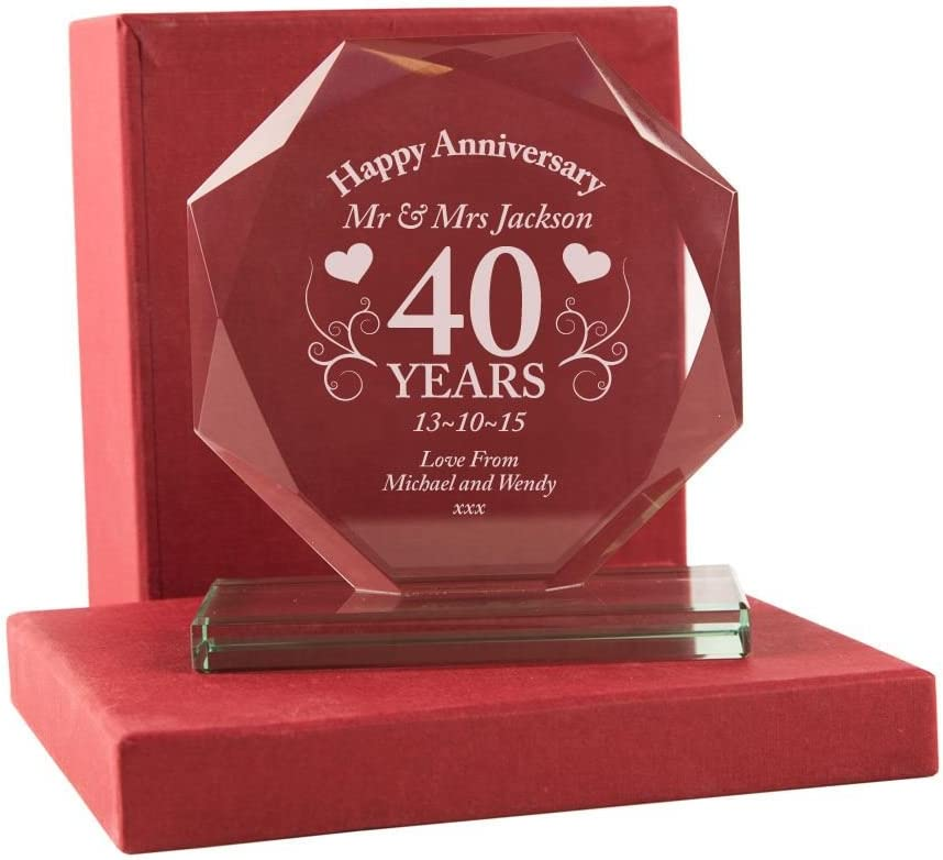 9th Wedding Anniversary Gift, Personalised Ruby Wedding Glass Award with  Presentation Box, Engraved 9th Wedding Gift