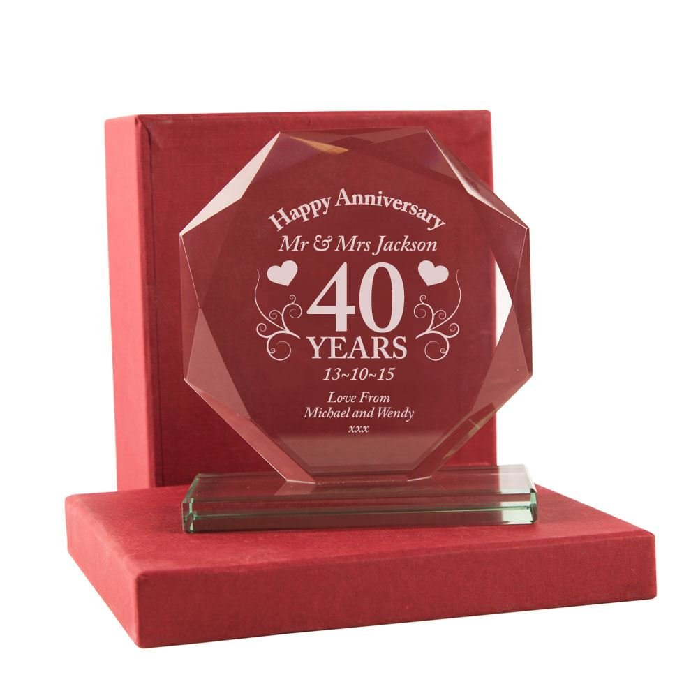 40th Wedding Anniversary Gift Personalised Ruby Glass Award With Presentation Box Engraved
