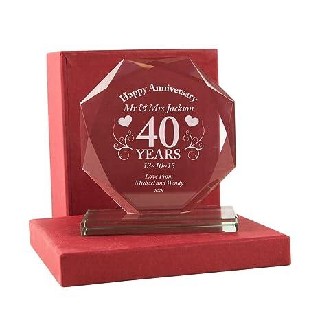 40th Wedding Anniversary Gift Personalised Ruby Wedding Glass Award