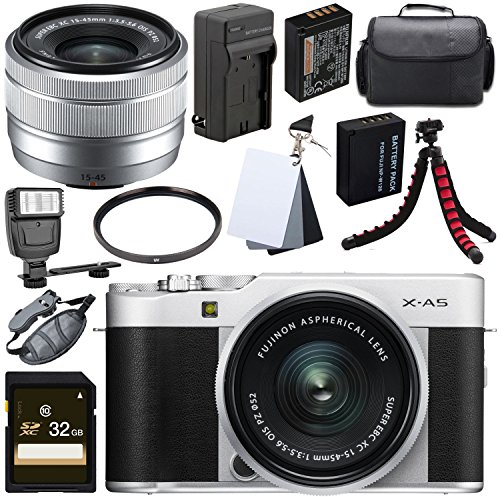 Fujifilm X-A5 Mirrorless Digital Camera with 15-45mm Lens (Silver) + 32GB SDHC Card + 52mm UV Filter + NP-W126 Lithium Ion Battery + 3 Piece Digital Grey Balance Cards Set Bundle