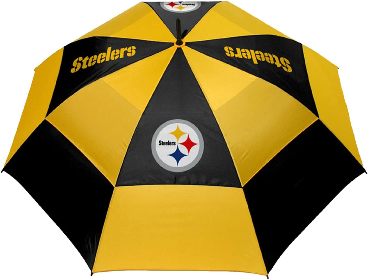 "Team Golf NFL Pittsburgh Steelers 62"" Golf Umbrella with Protective Sheath, Double Canopy Wind Protection Design, Auto Open Button : Sports Fan Golf Umbrellas : Sports & Outdoors"