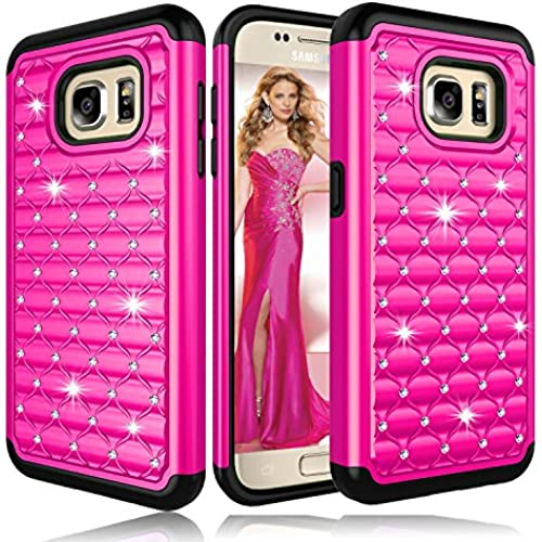 Galaxy S7 Case, ZENIC(TM) Hybrid Armor Dual Layer Studded Diamond Bling Protective Case Cover for Galaxy S7 All Carriers (Rose) Sales