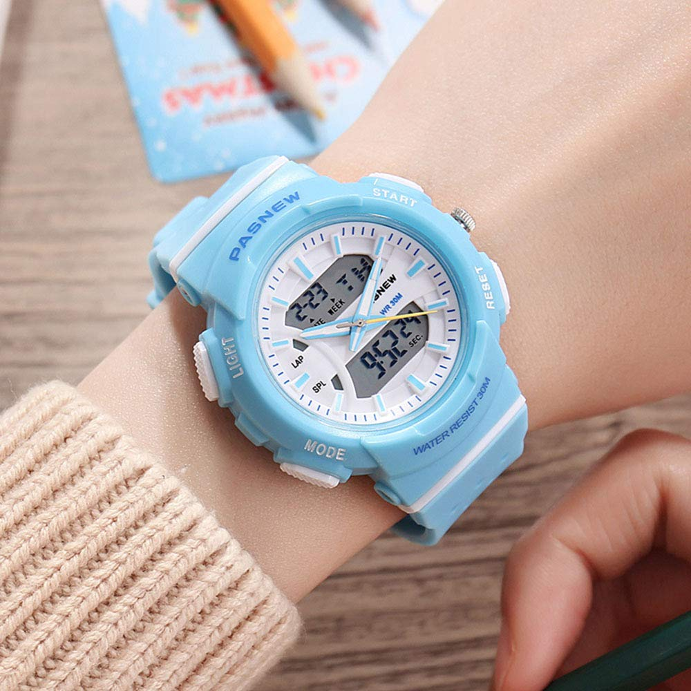 PASNEW Kid Watch Multi Function Digital-Analog Sport Watches for 6-Year Old or Above Children-LightBlue by PASNEW (Image #2)