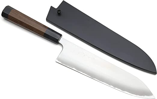 Japanese Style 165 mm Yoshihiro Aogami Super//Blue Steel Clad,WA Santoku Knife