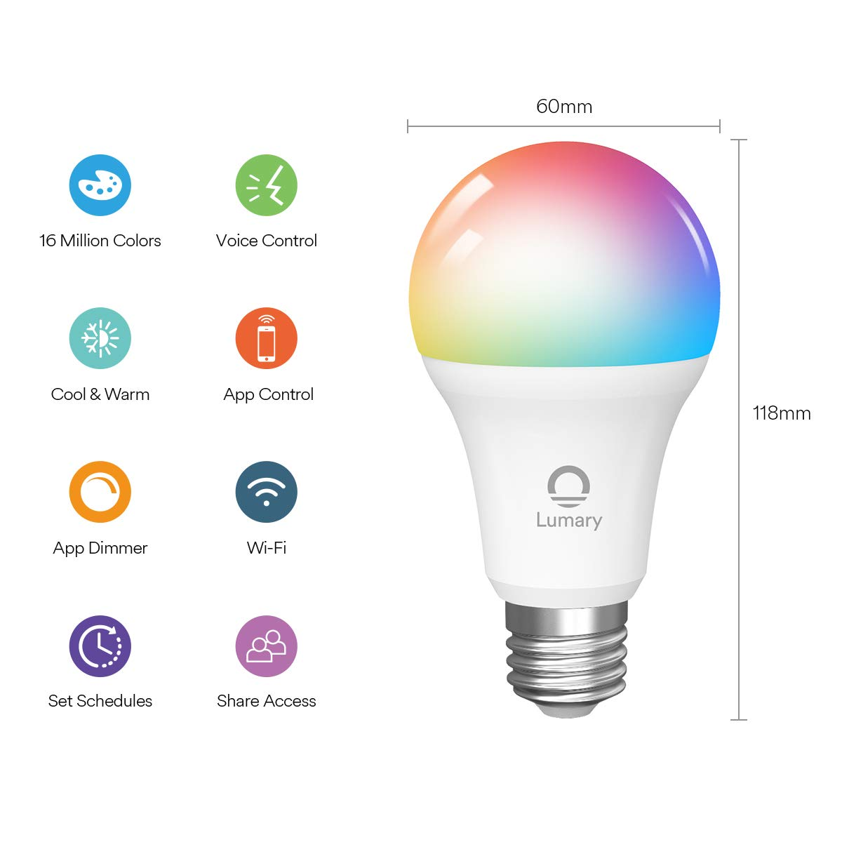WiFi Smart Bulb Alexa, Lumary E27 9W Smart Light Bulb Compatible with Alexa, Google Home, Colour Dimmable RGBW 2700K-6000K Smart LED Bulbs, 60W Equivalent 806LM Remote Controlled No Hub Required