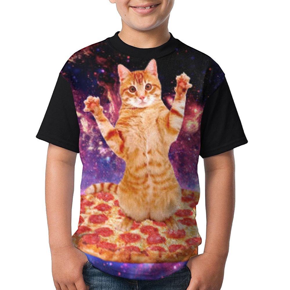Kitten Pizza Child Summer T-Shirt 3D Printed Tee Black Top Medium