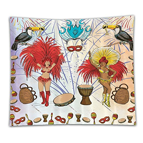 Brazilian Samba Carnival Costumes (Beshowereb Fleece Throw Blanket Beshowereb Fleece Throw Blanket Beshowereb Fleece Throw Blanket Brazilian Carnival Costumes in Rio Samba Dance Decor Decorations Drums and Key Holder Parrots Palms Pa)