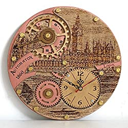 Automaton 1860 London Parlament HANDCRAFTED by WOODANDROOT decorative wall clock, unique wall clock, personalized gifts, anniversary gift, large wall clock, home decor