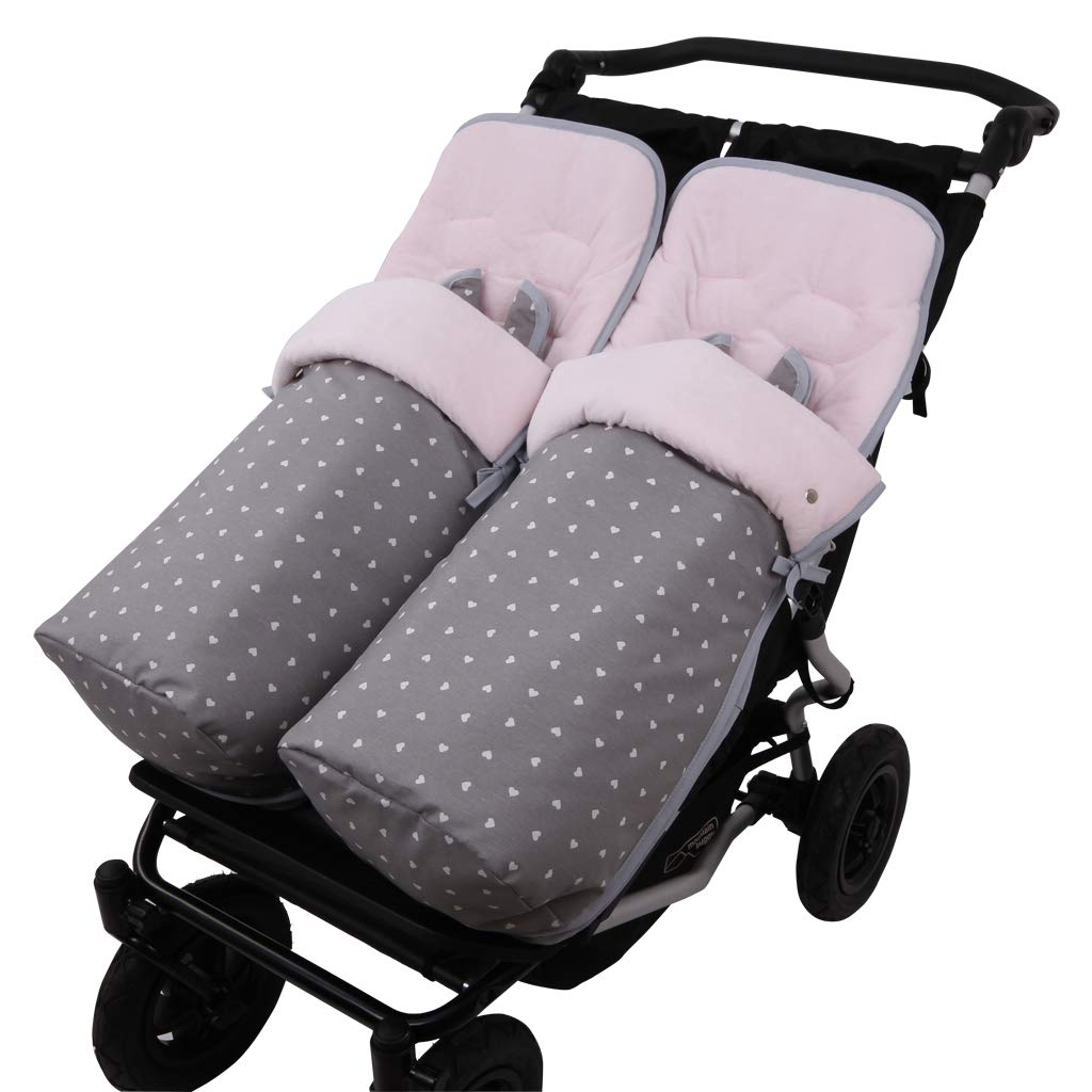 Saco Silla Invierno Impermeable Mountain Buggy Duet LOVE V.Velour Rosa.