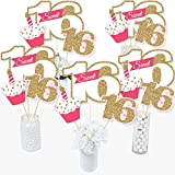 Sweet 16 - 16th Birthday - 16th Birthday Party Centerpiece Sticks - Table Toppers - Set of 15