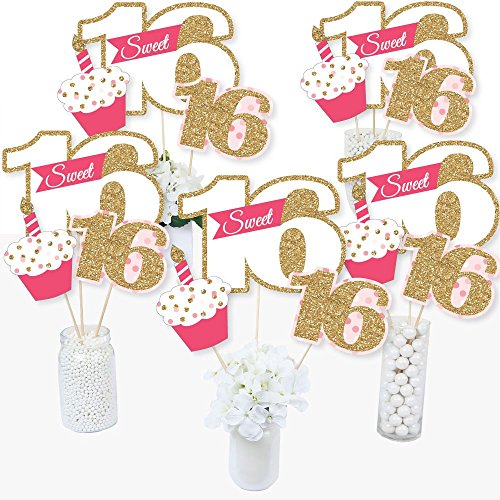 Sweet 16 - 16th Birthday - 16th Birthday Party Centerpiece Sticks - Table Toppers - Set of 15 -