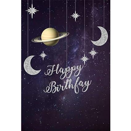 OERJU 2x3m Feliz cumpleaños Fondo Estrellas Luna Colgante ...