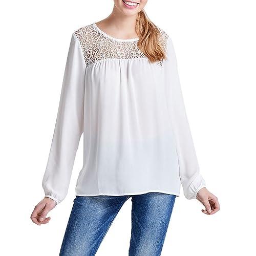 Kukul Blusa Mujer Camisa de manga larga de encaje de gasa Blusa Casual Tapas de algodón sueltas