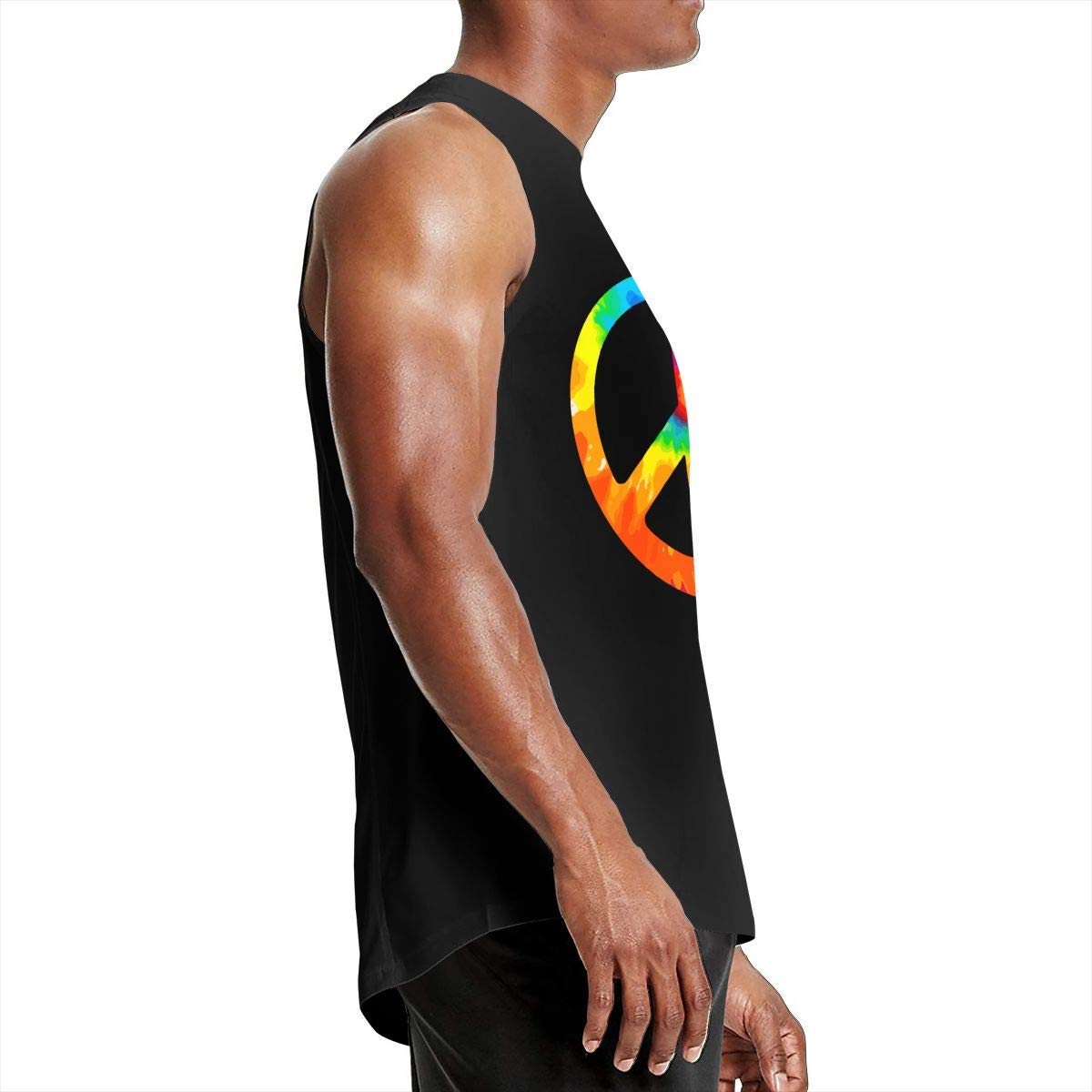 Tie Dye Peace Sign Muscle T-Shirt Gioro-FG Mens Tank Tops