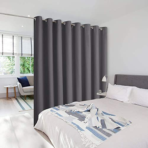 NICETOWN Room Dividers Curtains Screens Partitions, Premium Heavyweight Laundry Room Divider for Office, Vintage and Sliding Room, Including 16 Silver Ring Top 1 Panel, 15ft Wide x 8ft Long, Gray