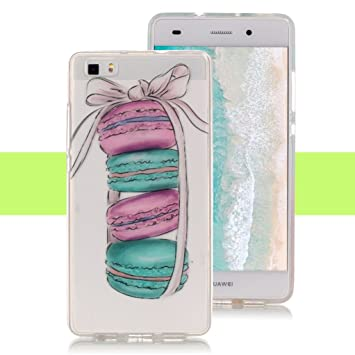 Yunbaozi Funda para Huawei P8 Lite, Carcasa de Silicona Flexible Suave Transparente TPU Case - Macaron