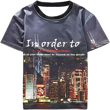 Camisa de compresión para Hombre Cuello Redondo, Media Manga, versión Coreana, de Medio Cuerpo, Camisa, Marea, Tarjeta: Amazon.es: Ropa y accesorios