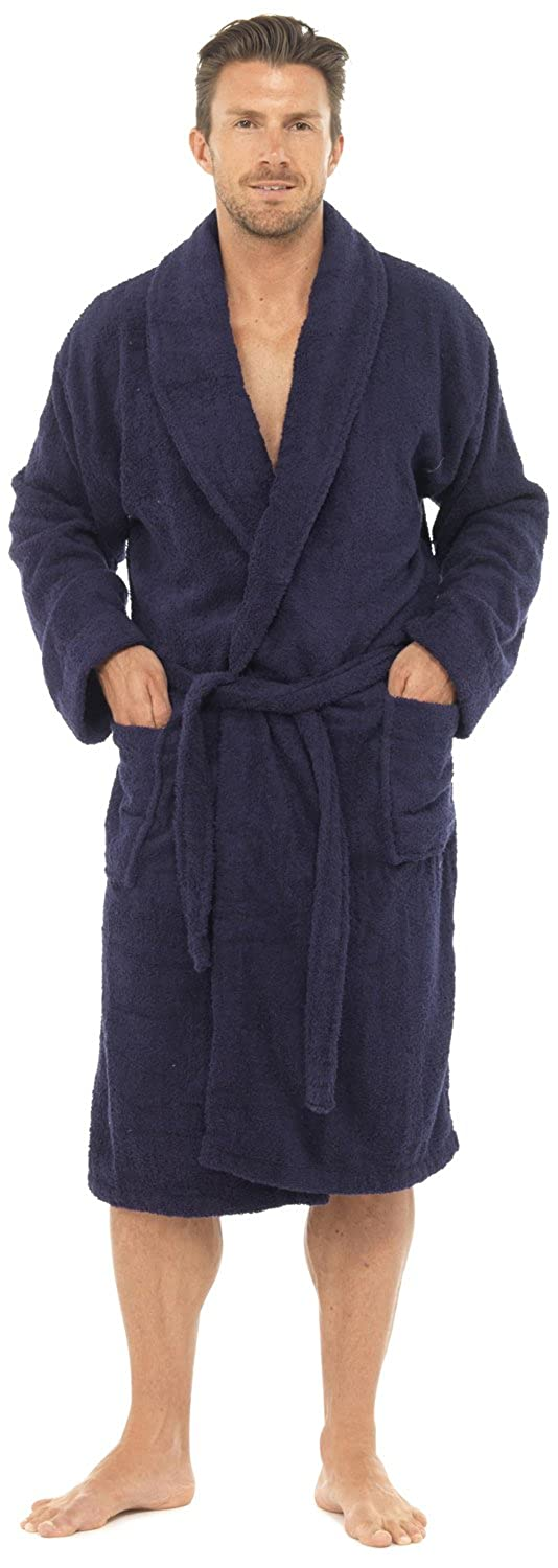 Men's Towelling Robe 100% Cotton Dressing Gown Robes, M L XL, Gift R566 By Sockstack®