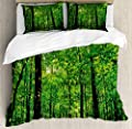 Microfiber Duvet Cover SetWoodland Tree Forest Sun Duvet Cover SetDecorative 3 Piece Bedding Set with 2 Pillow Shams