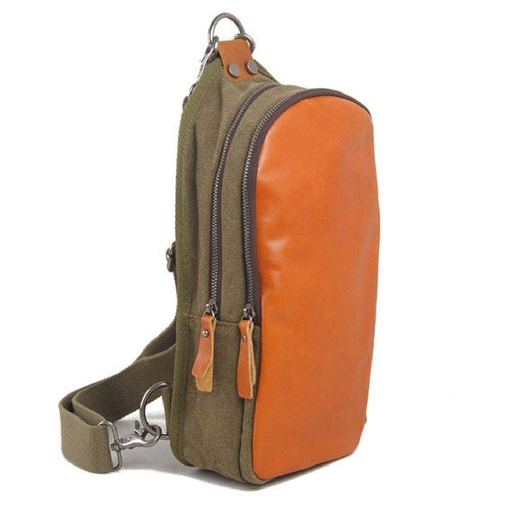 Sling Bag Simple Retro Chest Bag Zipper Waterproof Canvas Shoulder Bag Messenger Bag for Travel Hiking Working School Business Cycling