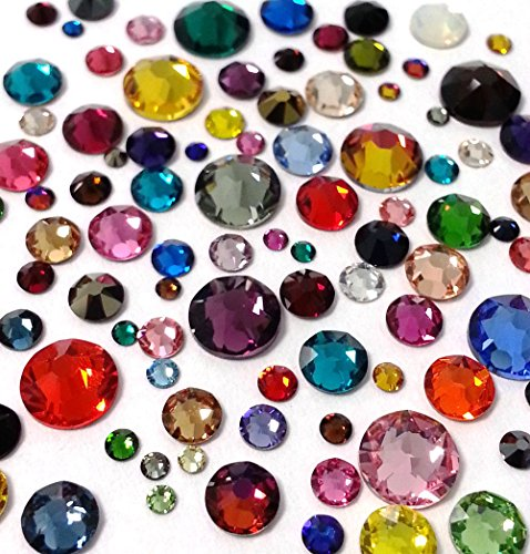 HOTFIX Swarovski Assorted Mix Colors 144 Pieces 2038/2078 Crystal Flatbacks Rhinestones Mixed with Sizes ss6, ss10, ss12, ss16, ss20, ss30