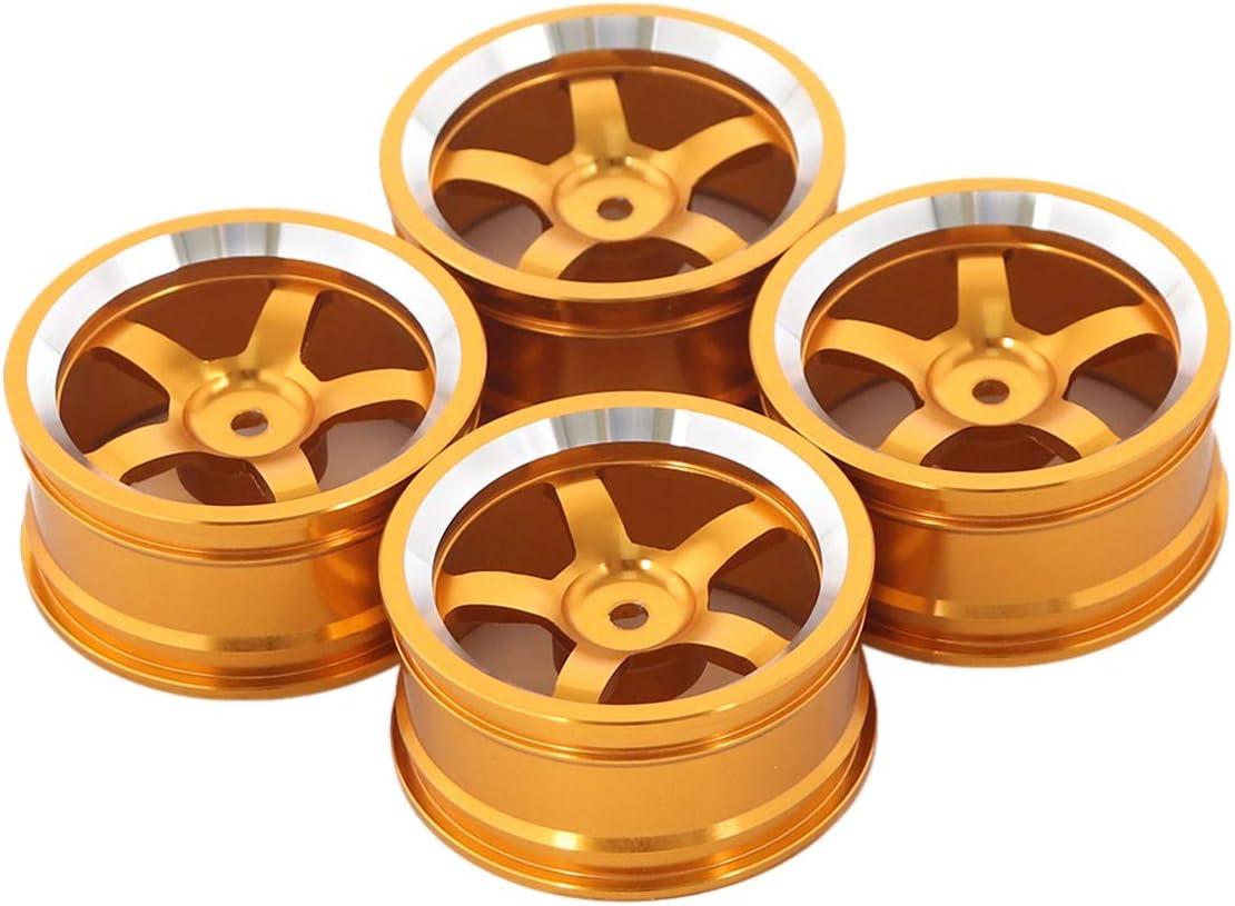 JVSISM 52 X 26 Mm 4 Piezas Llantas para Coches RC 1//10 Llantas de Aleaci/óN de Aluminio de Desplazamiento Plano Oro