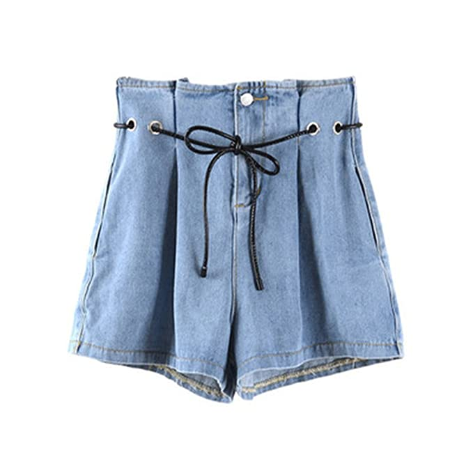 35b647d3d5 FuweiEncore Pantalones Cortos de Mezclilla para Mujer Tallas Grandes Chic  Pantalones Cortos de Cintura Alta con Cuerda  Amazon.es  Ropa y accesorios